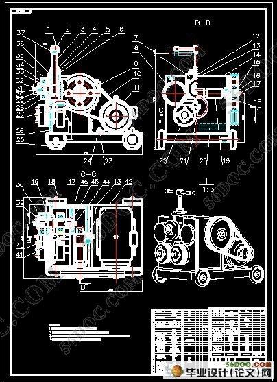 法兰成型机的图纸v法兰(CAD总体和PROE三维图纸1.5a2+图片